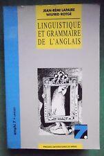 LINGUISTIQUE ET GRAMMAIRE DE L'ANGLAIS JR LAPAIRE W ROTGE PRESSES UNIV DU MIRAIL