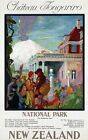"""Vintage Illustrated Travel Poster CANVAS PRINT New Zealand Chateau 24""""X18"""""""