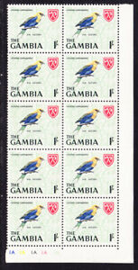 Gambia 1966  - 1s Blue Bellied Roller Plated Block 10 MNH