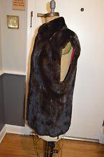 reversible red to brown female pelt mink fur long vest jacket s/m