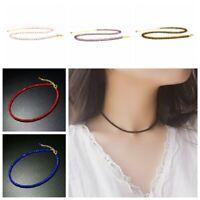 Mode Kurze Crystal Clavicle Chain Halskette mit Glasperlen Anhänger Choker