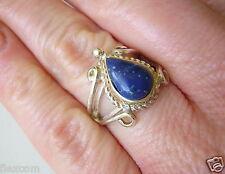 950 Silber Lapislazuli Lapis Lazuli Tropfen Ring 2,8 g/16,5 mm Edelstein Schmuck