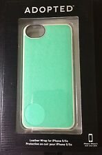 Adopted Leather wrap for Apple iPhone 5 5S saffiano mint green / wheat Cell Case