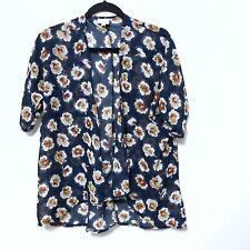 LuLaRoe Bianka Kimono Girls Size 3 (10-14) Sheer Floral Cardigan Navy