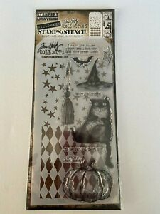 *NEW* TIM HOLTZ (Stampers Anonymous) STAMPS & STENCIL 'WITCH CAT' Halloween
