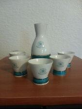 Sawanotsuru white and green Sake Set with 5 cups made in Japan