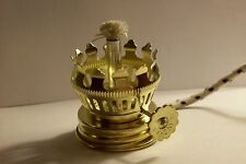 """MINIATURE BRASS PLATED OIL LAMP BURNER WITH 3/16"""" ROPE WICK NEW 54349J"""
