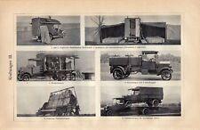 Antique print transport car automobile auto WW1 1920 kraftwagen