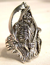 GRIM REAPER DEATH SICKLE BIKER RING BR168 silver mens fashion womens new rings