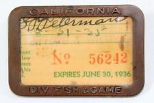 1935 1936 California Division of Fish & Game Hunting License Badge Pin & Papers