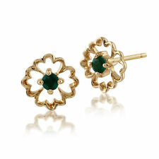 Gemondo 9ct Yellow Gold 0.12ct Floral Emerald Stud Earrings