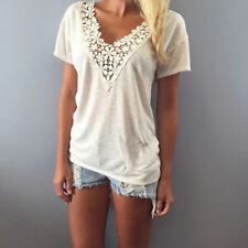 Fashion Women Summer Loose Casual Short Sleeve Lace Up T Shirt Tops Blouse US