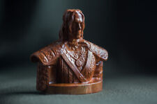 "Carved little sculpture ""Witcher bust"", real cherry-wood (small size)"