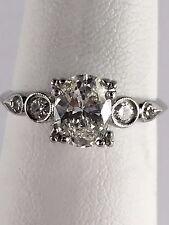 Estate Vintage Platinum Ring w/ Solitaire Diamond w/ Accents 0.50 TCW Size 8.25