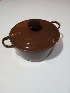 """Le Creuset Flame Brown """"D"""" Dutch Oven Pot With Lid Cast Iron 3.5 Qt"""