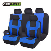 Universal Car Seat Cover Polyester Black Blue Breathable for SUV VAN TRUCK SEDAN