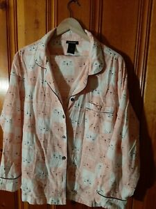 Joe Boxer flannel woman's XL junior pink cats pajamas