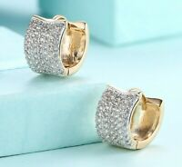 "925 Sterling Silver Micro Pave CZ Huggie Hoop Women Earrings 0.55"" 15mm"