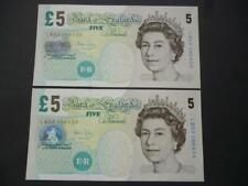 More details for 2004 pair of bailey uncirculated £5 notes consecutive numbers, duggleby b398.