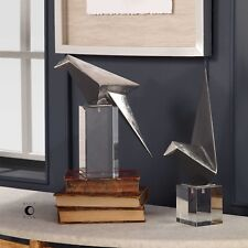 PAIR URBAN INDUSTRIAL MODERN ART ORIGAMI BIRD FIGURINES SCULPTURES STATUE