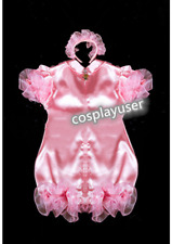 adult sissy baby maid satin Romper lockable Suit Tailor-made