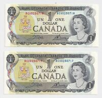 2 x Sequential 1973 $1 Bank of Canada Notes BFJ7716517-8 AU/UNC