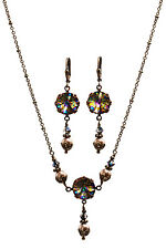 Boho Crystal Peacock Rivoli Round Stone Faux Pearl Necklace and Earring Set