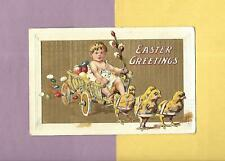 CHICKS PULL BABY, COLORED EGGS In BASKET CART On Vintage 1909 EASTER Postcard