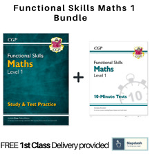 Functional Skills Maths Level 1 - Study & Test Practice Bundle by CGP New Book