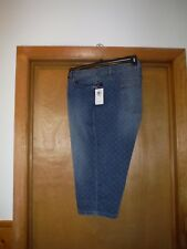 Size Plus Jean Capri Pants size 24W Chaps Indigo Blue White Geo Dot ,4 pockets