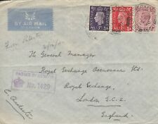 GB WW2 1940 GVI AIRMAIL from RAF in PALESTINE to London - 'PASSED BY CENSOR'