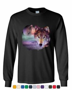 Wolf Howling at Moon Long Sleeve T-Shirt Wilderness Wildlife Wild Wolf Pack Tee