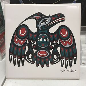 "Joe Wilson ""RAVEN"" Coast Salish Island Art Ceramic Tile Plaque / Trivet 6"" x 6"""