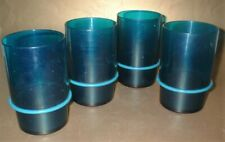 4 x VINTAGE RETRO 1970s TUPPERWARE ACRYLIC TURQUOISE STACKING TUMBLERS CUPS 0.4L