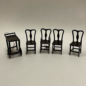 Lot Of 5- 4 Tootsie Toy Metal Dining Chairs & Bar Cart Dollhouse Furniture 1:16