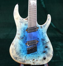 2018 P&P Top Quality 7 Strings Electric Guitar Fanned Frets 24F Burl  Maple Top