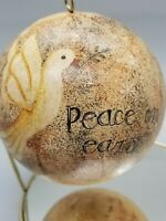 Peace On EARTH Dove Christmas Ornament Paper Over Plastic 021