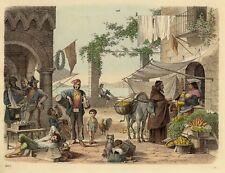 Neapel, Napoli, Maccaroni Makkaroni Verkäufer, altkolorierte Lithographie v 1862
