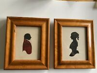 PAIR 19th CENTURY WATERCOLOR SILHOUETTES GENTLEMAN WITH RED JACKET MAPLE FRAMES