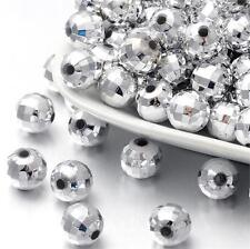 50 FACETED ROUND ACRYLIC SILVER PLATED SPACER BEADS 10mm TOP QUALITY ACR70