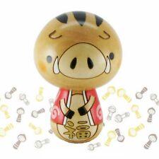 Giapponese Usaburo Kokeshi Legno Bambola Boar of Oriental Zodiac Con Rilevamento