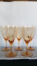 FIVE~Vintage AMBER Floral Etched Optic Stemmed Depression Glass Goblets 8 Ounce