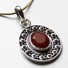 925 Sterling Silver Semi-Precious Natural Stone Pendant -- Ruby