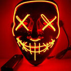 US Purge Rave Party Light Up  EL Wire Scary LED Mask Costume Cosplay Halloween