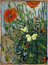 """VAN GOGH, """"Poppies and Butterflies"""" MUSEUM QUALITY GICLEE 8.3X11.7 CANVAS PRINT"""