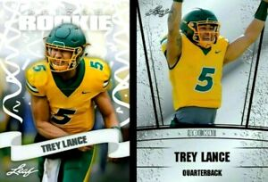 """(2) """"MINT"""" TREY LANCE 2021 LEAF """"PRIZED & SILVER EDITION"""" ROOKIE CARD LOT! 49ERS"""
