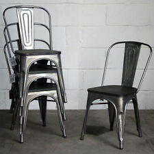 Set of 4 Steel Metal Industrial Dining Chair Kitchen Bistro Cafe Vintage Seat & Kitchen Vintage/Retro Dining Chairs for sale | eBay