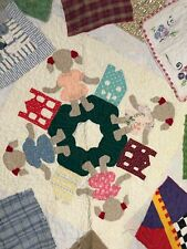 New listing Vintage Baby Crazy Quilt Crib Nursery Patchwork Embroidery Lace Applique