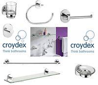 CROYDEX BATHROOM GLASS SHELF TOILET ROLL HOLDER TOWEL RAIL&RING SOAP DISH TUMBLE