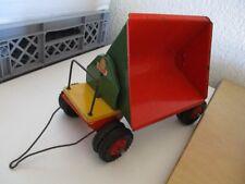 STEIFF Fahrzeug Holzspielzeug mit Blech Muldenkipper Anhänger 30 cm 60er 70er